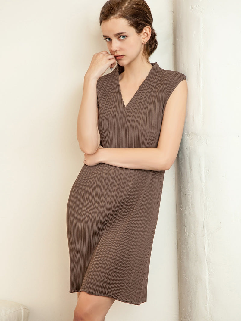 Pleated Brown V Neck  Bodycon Dress ZL01