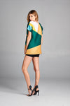 Pleated Green Geometry Color Block  Top 20420