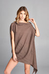 Pleated Brown Mondi Unbalanced Top 2825B
