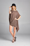 Pleated Lowell Tunic Blouse 3/4 sleeve Brown 6095