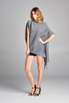 Pleated Grey Mondi  Unbalanced Top 2528G