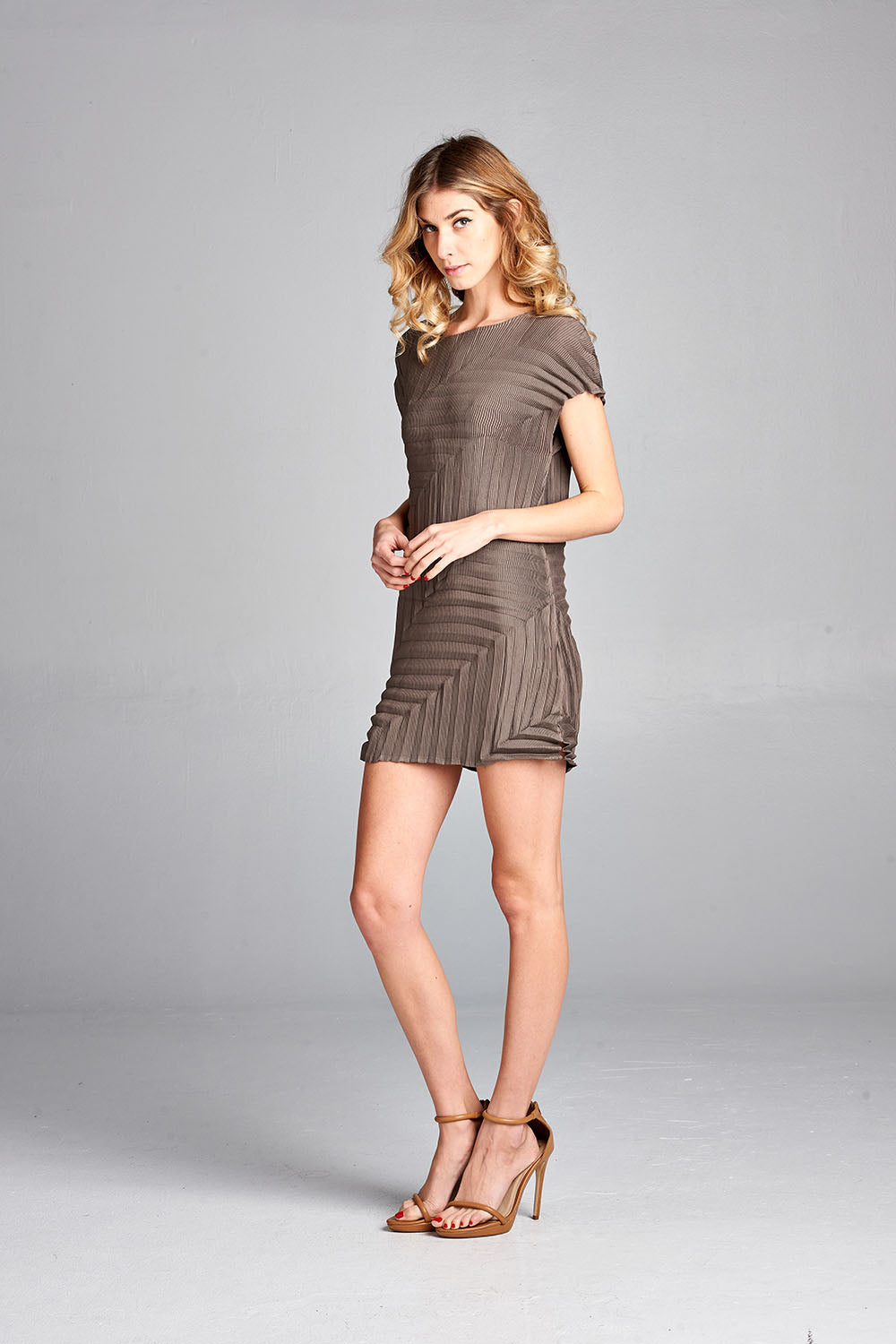 Pleated Brown Fadil  Mini Dress 2862