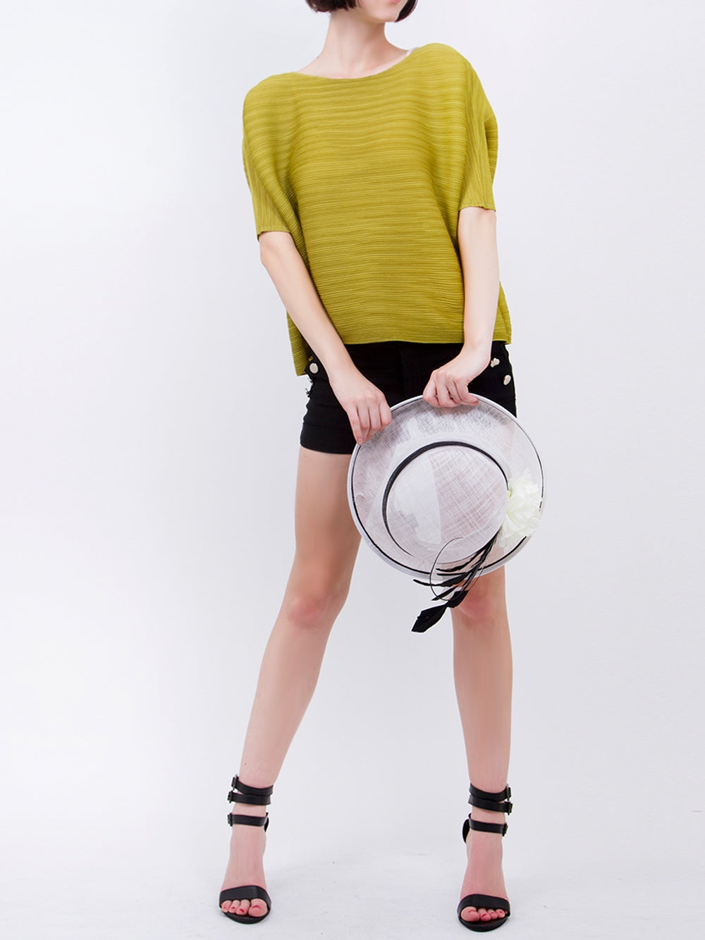 Pleated Yellow Half Sleeve  Top 9900