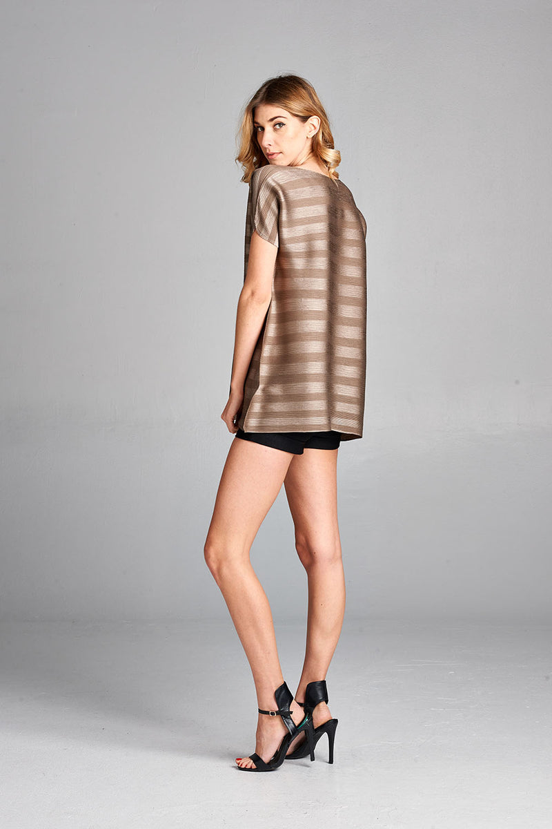 Pleated Brown Dziko Top 4050