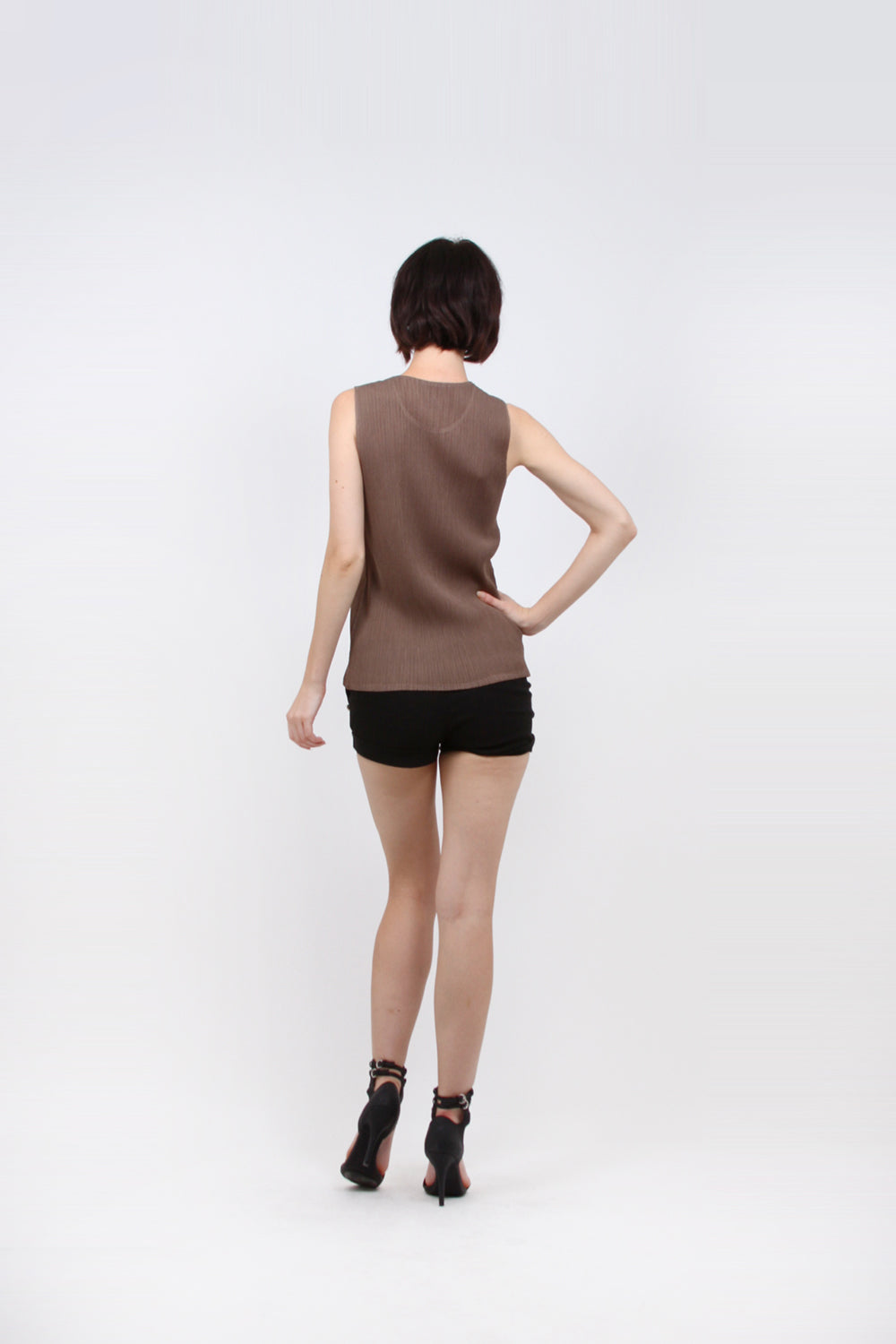 Pleated Brown Sleeveless Basic Bodycon Top 4205