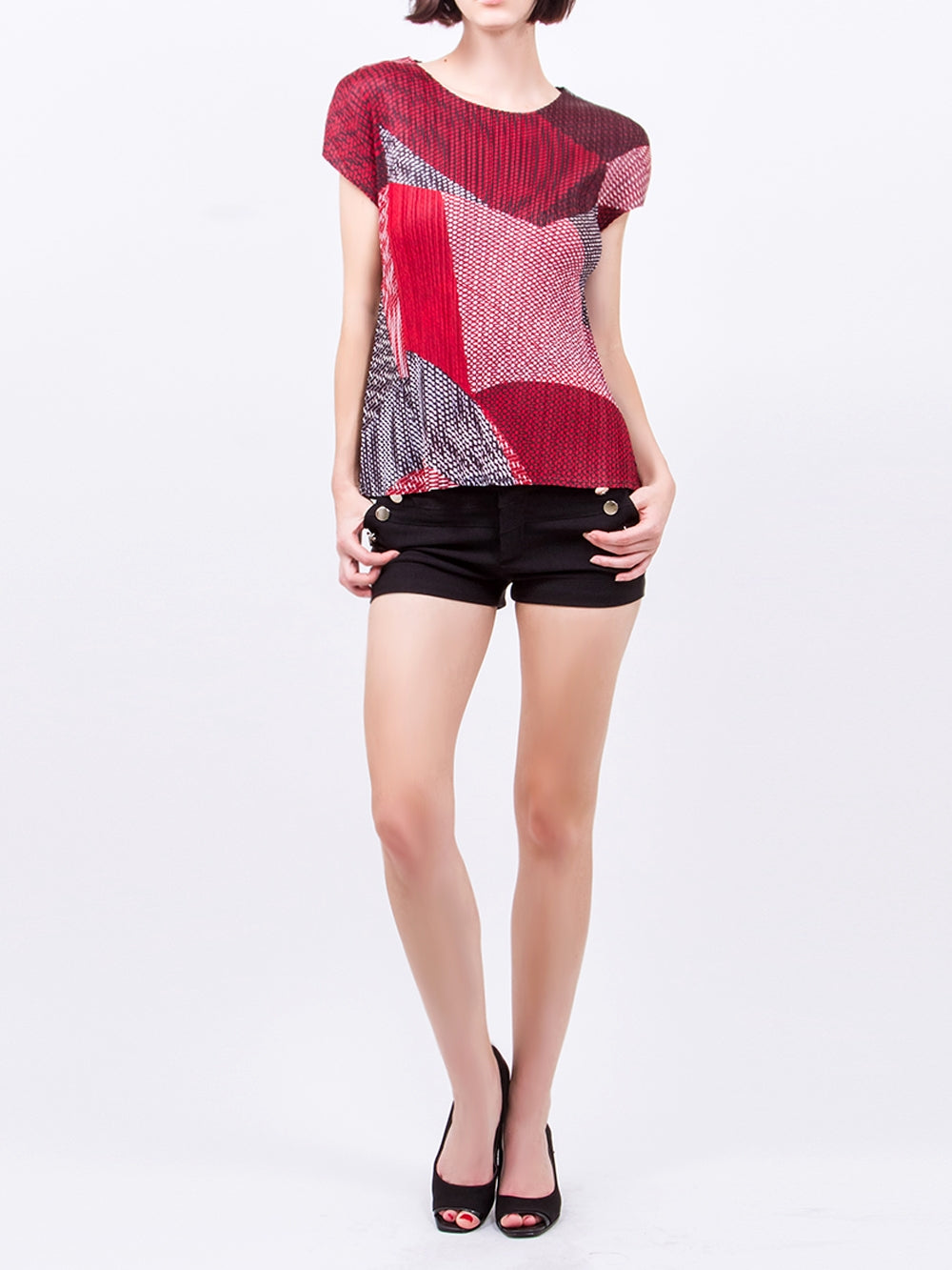 Pleated Red Color Print  Top 4975