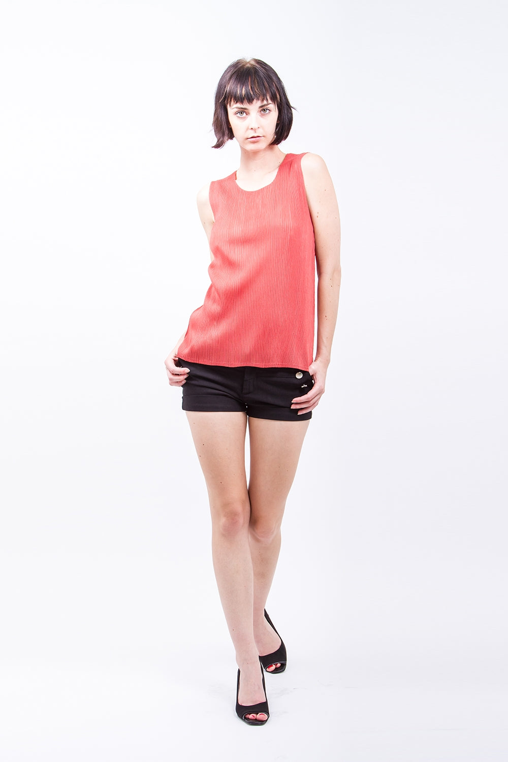 Pleated Orange  Basic  Top 4205