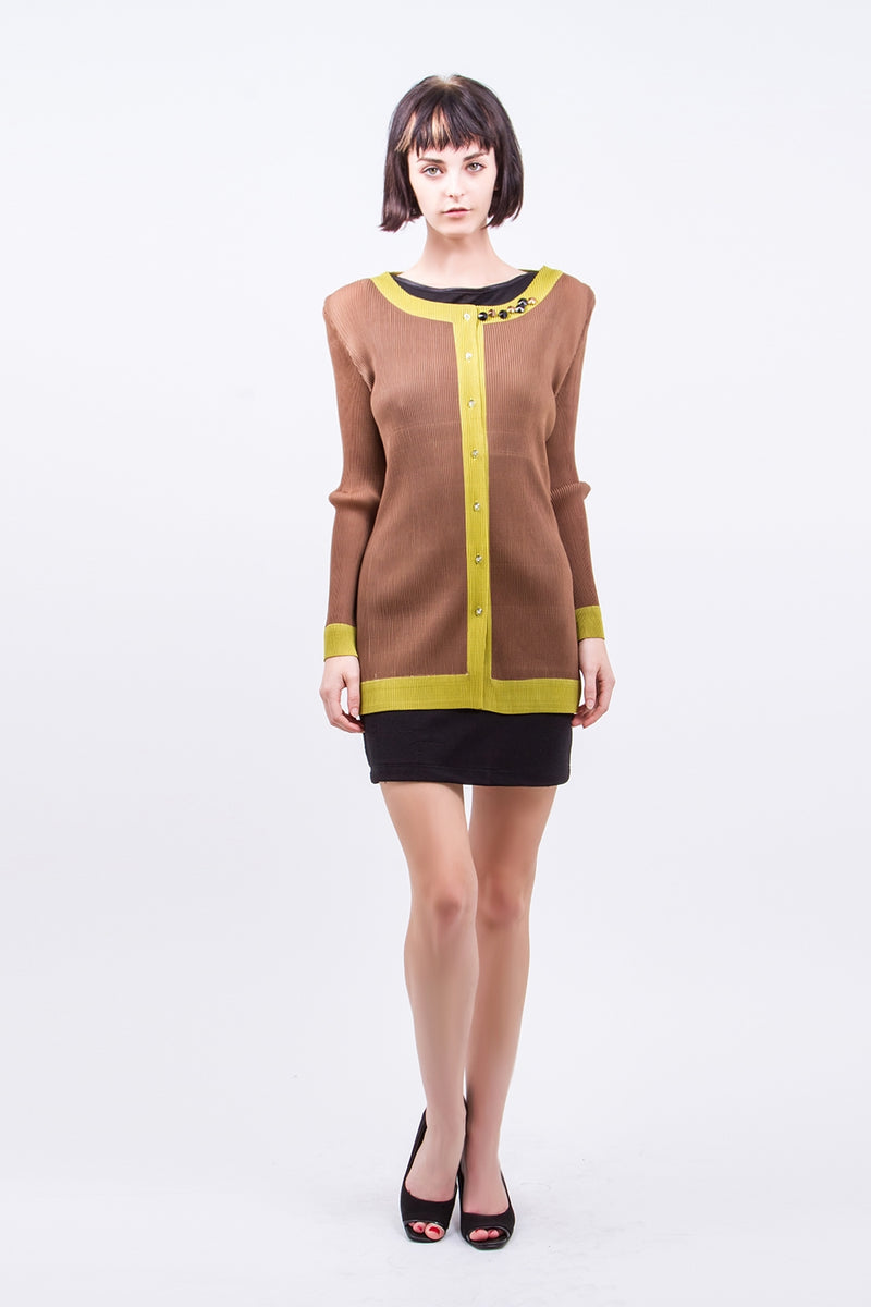 Pleated Brown Stone Button  Cardigan 1288