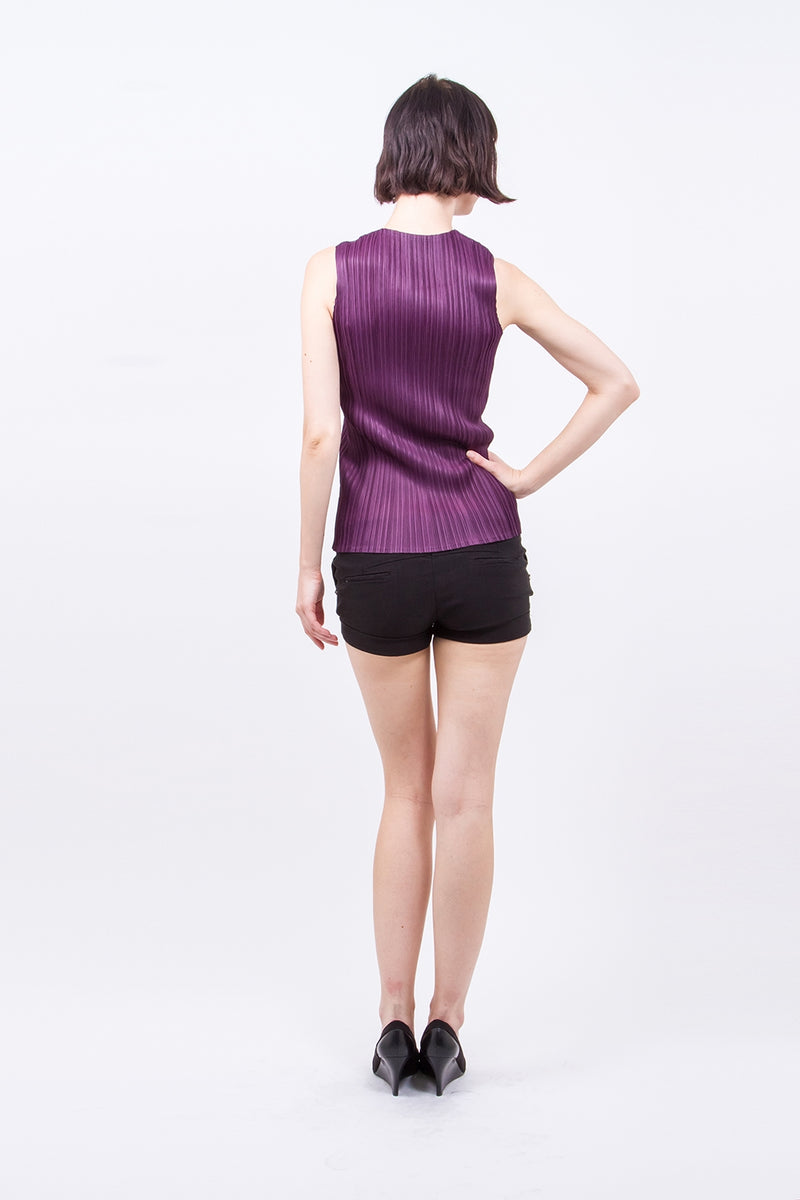 Pleated Purple Sleeveless  Top 60341