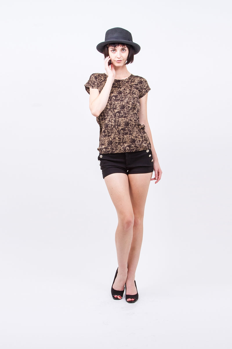Pleated Gold Short Sleeve  Top V3N