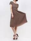 Pleated Adede Pattern  Dress Brown 16520