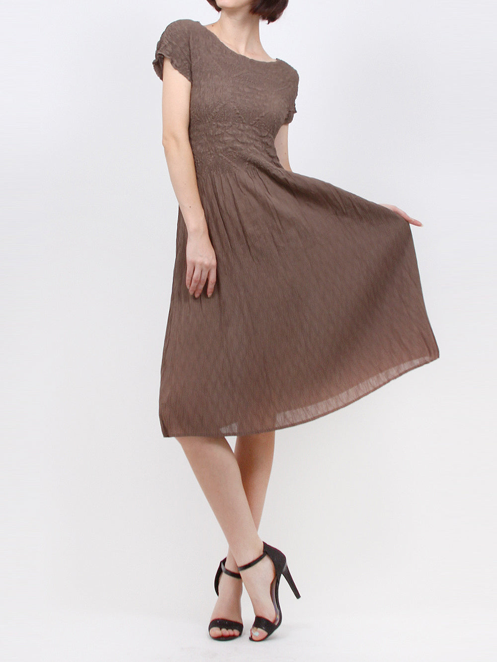 Brown Pleated Sheath Dress