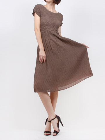 Pleated  Brown Flower Dress  60307