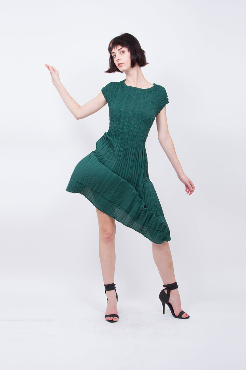 Pleated Green Sheath Dress 4908