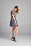 Pleated  Grey Mini Dress with Short Sleeve 50894
