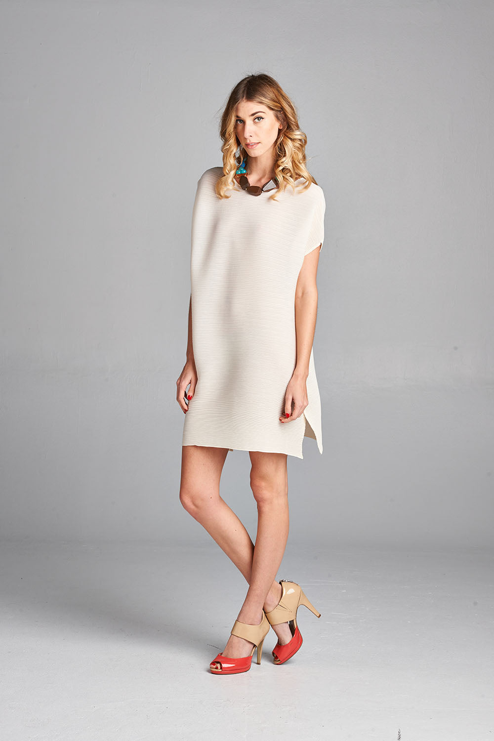 Pleated White Mini Dress with Short Sleeve 50894
