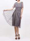 Pleated Edite Flower Dress Grey 60996