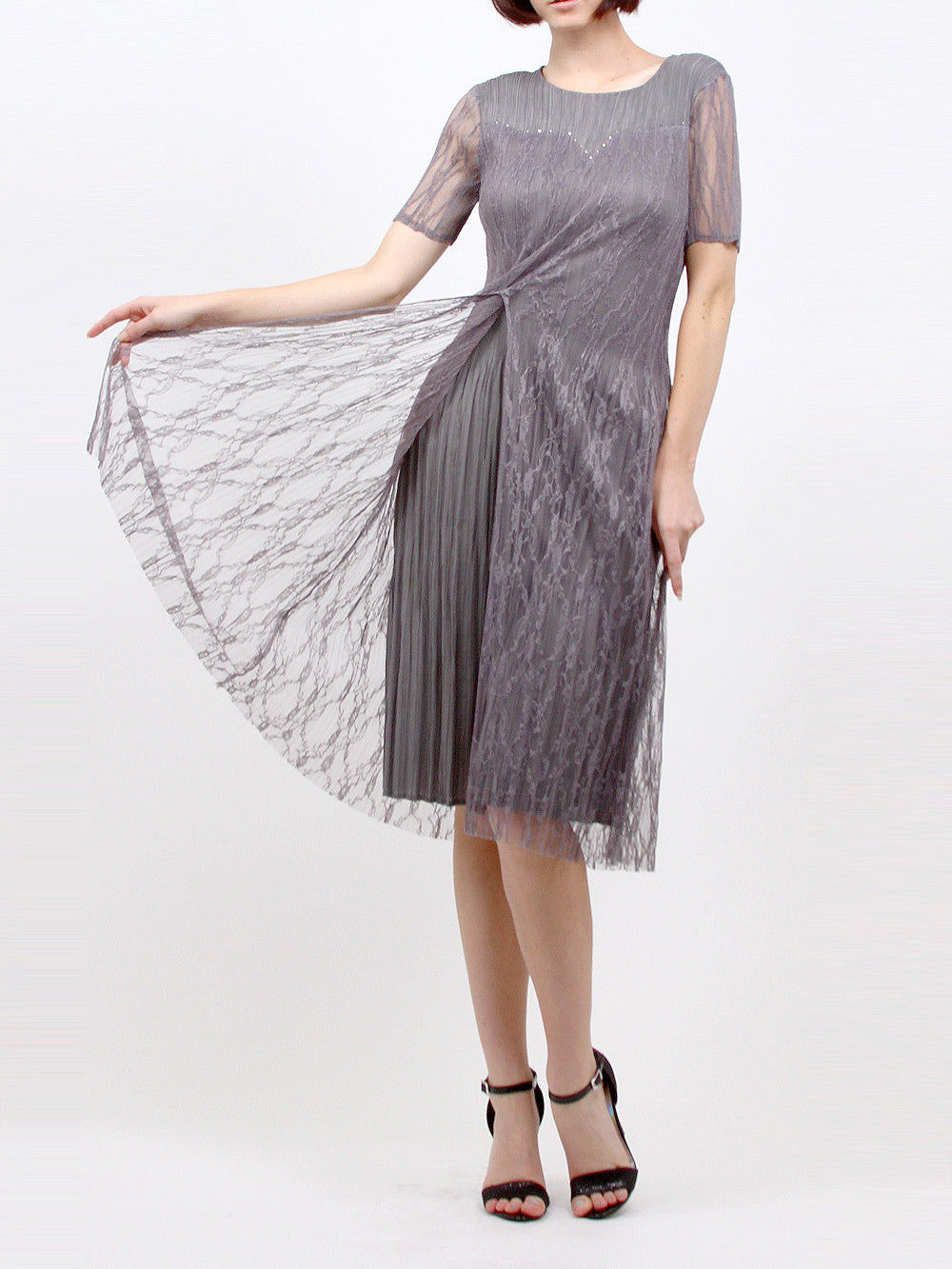 Pleated Grey Dress with Lace Sleeve 5135