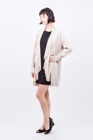 Pleated Beige Chiffon Layered Cardigan j34