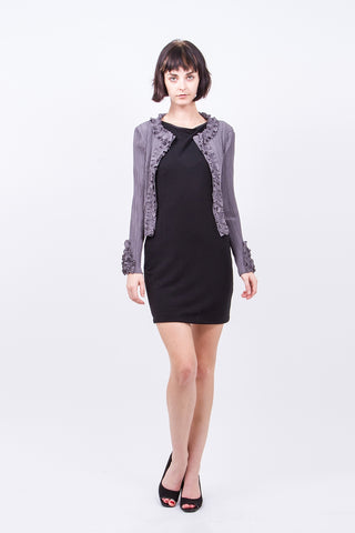Pleated Black Dayo  Cardigan 60330