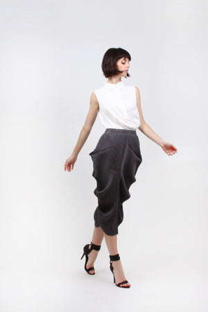 Pleated Grey ABR Ruffle Side Skirt 1348-1