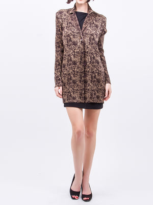 Pleated Brown Printed  Cardigan J31N