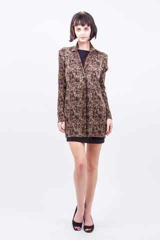 Pleated Brown TFN Printed  Cardigan J24N