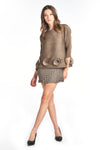 Pleated Lilou  blouse  3/4 sleeve brown 5989