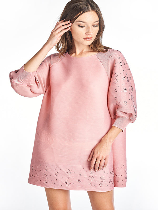 Pleated Paolo  Dress 3/4 sleeve Pink 8336