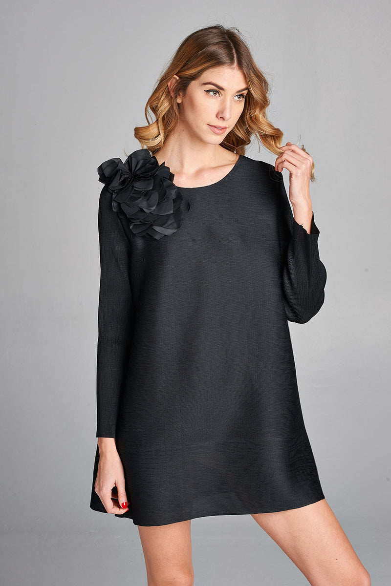 Pleated Black  Flower Dress with Long Sleeve 60307