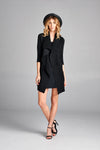 Pleated Black  Button Down  Long Cardigan J2-1N-Long