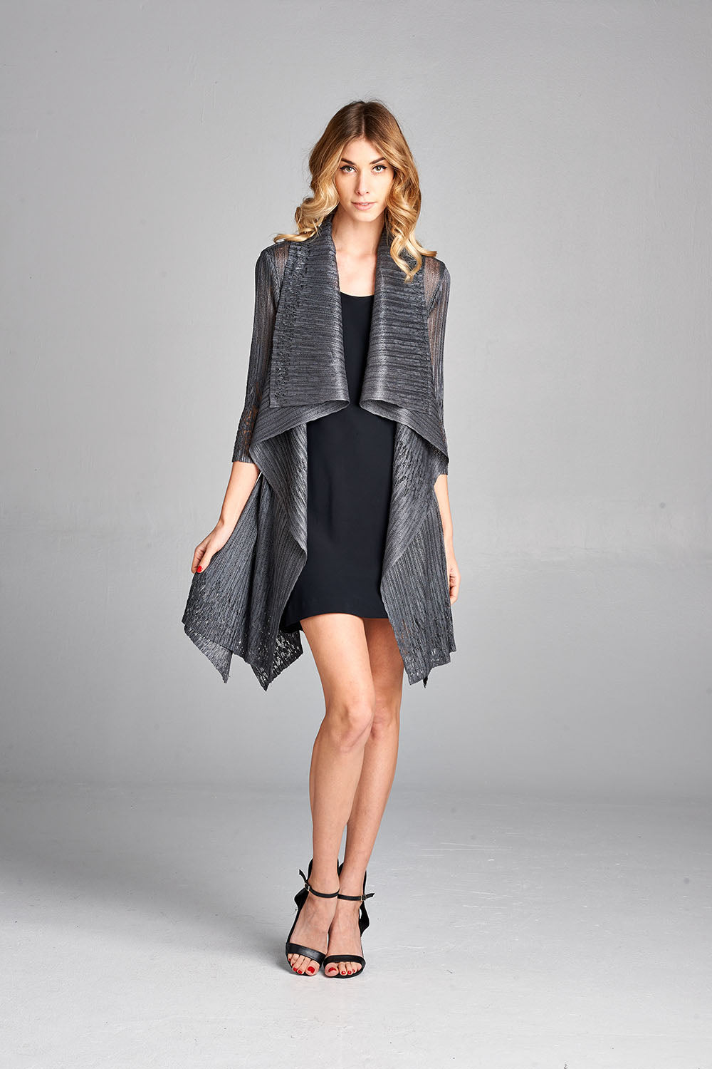 Pleated Grey Lace  Long Cardigan 60350