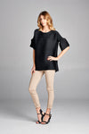 Pleated Louna  Blouse Bell Sleeve Black T10111