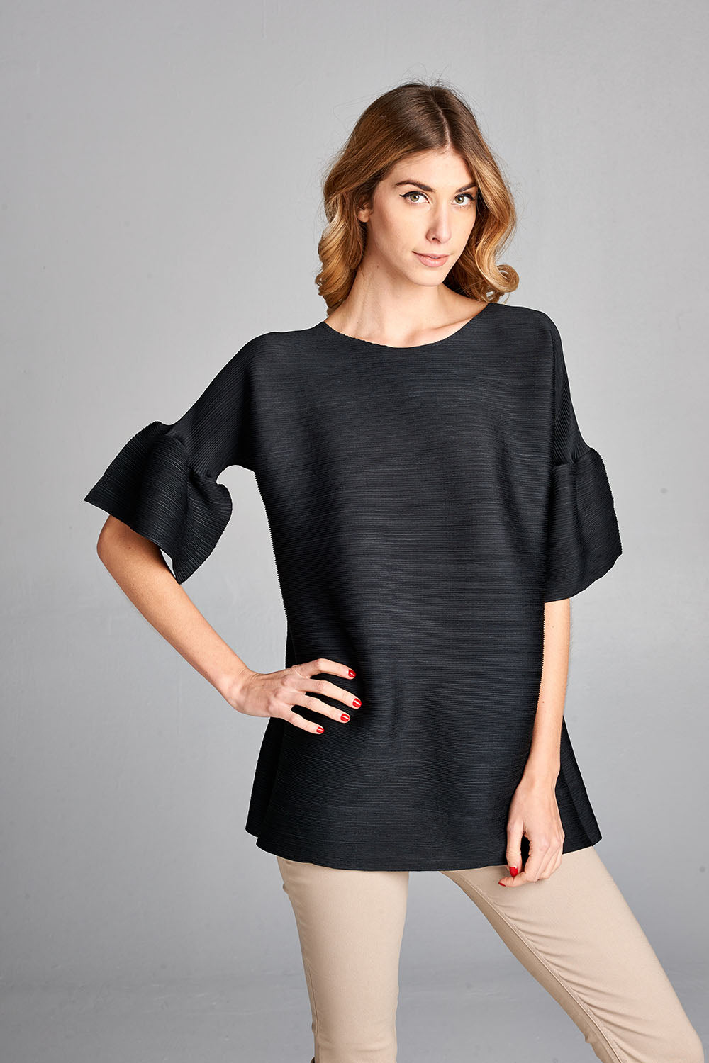 Pleated Black Audrey  Top With Ruffle Sleeve 60422