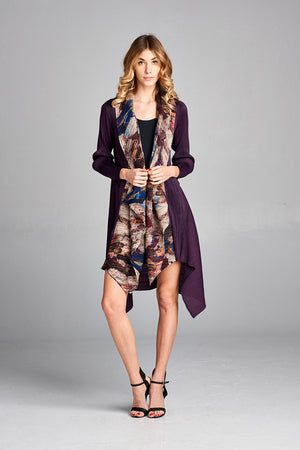 Pleated Long Purple  Long Cardigan with Scarf Attached 60580