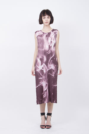 Pleated Pink Marbling Print  Dress 10005