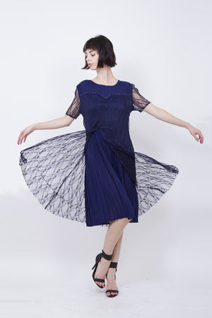 Pleated Navy Dress with Lace Sleeve 5135