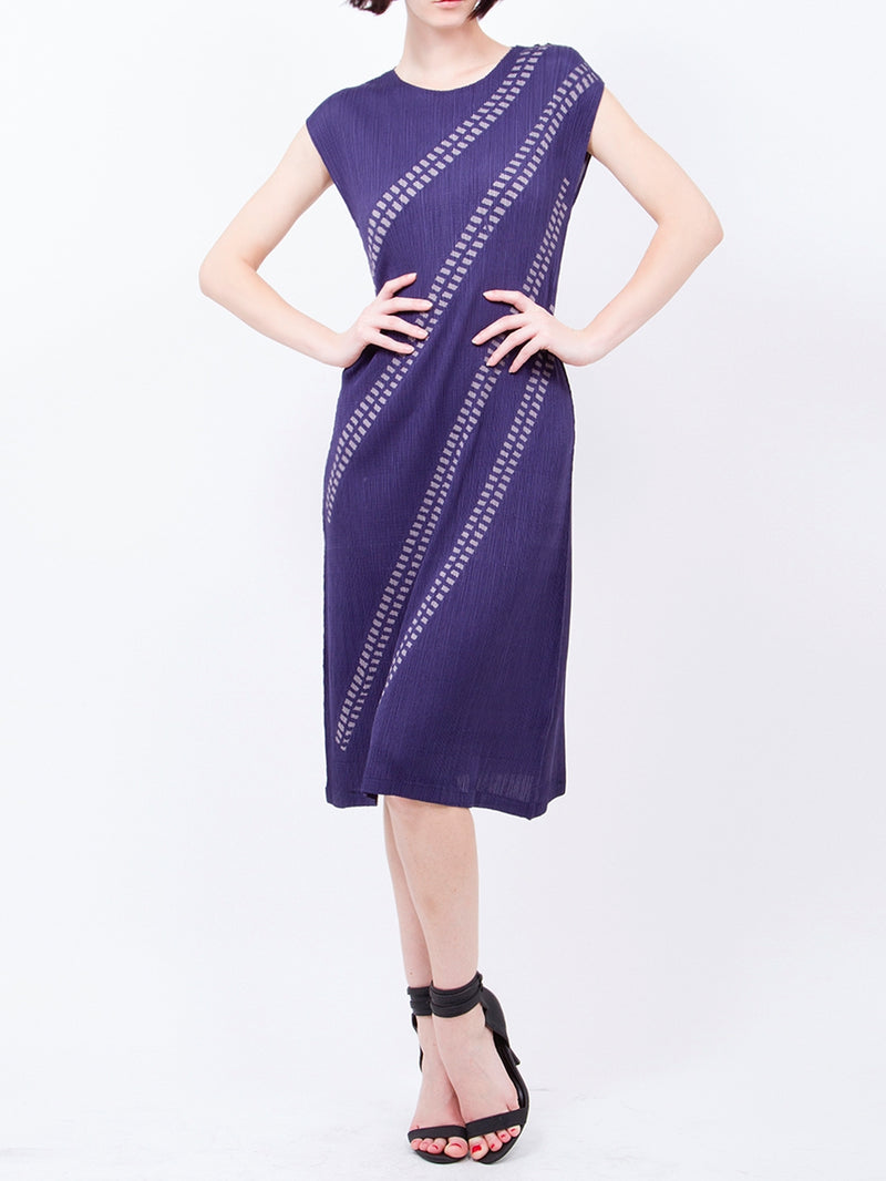 Pleated  Navy 4 Lined Dress GJ-Y4433