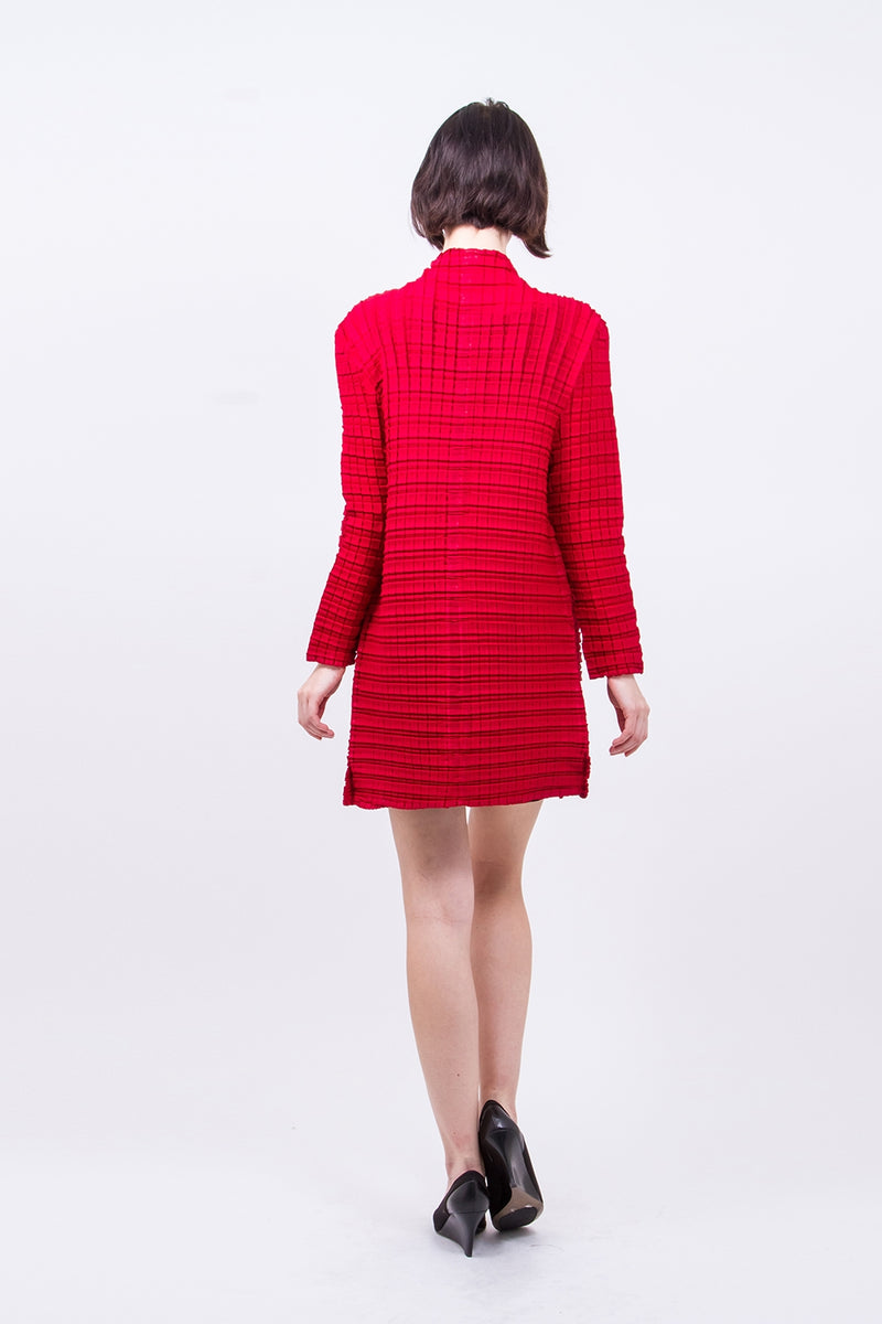 Pleated Red  Square Cardigan GJ-W4673