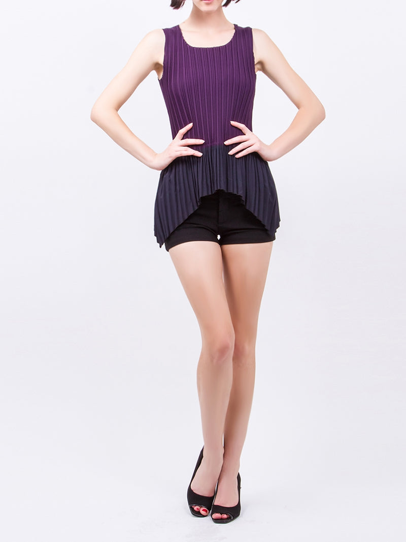 Purple Side Point Sleeveless Pleated Top