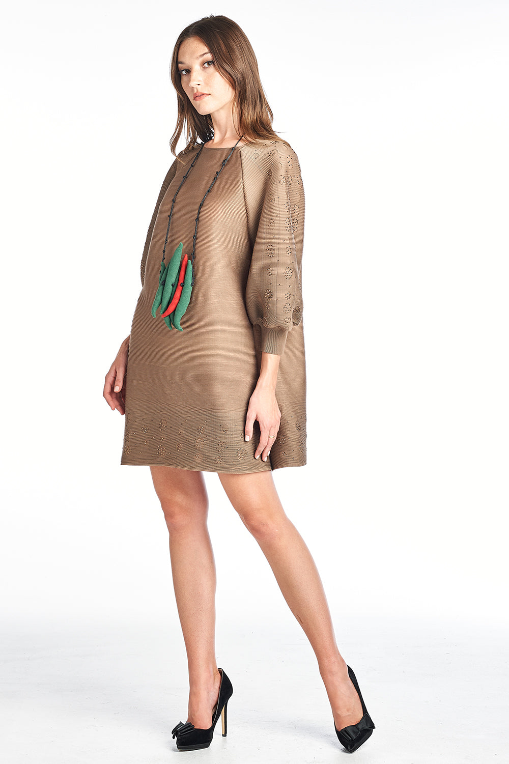 Pleated  Brown Paolo  Dress 3/4 sleeve 8336