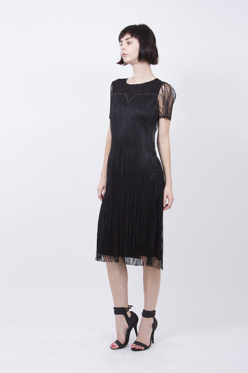Pleated Black Dress with Lace Sleeve 5135