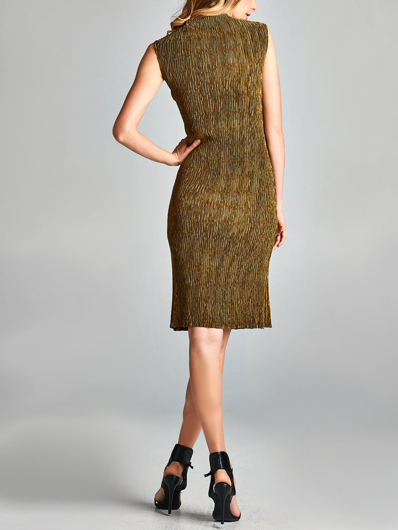 Pleated Gold EG Bodycon Dress  24220