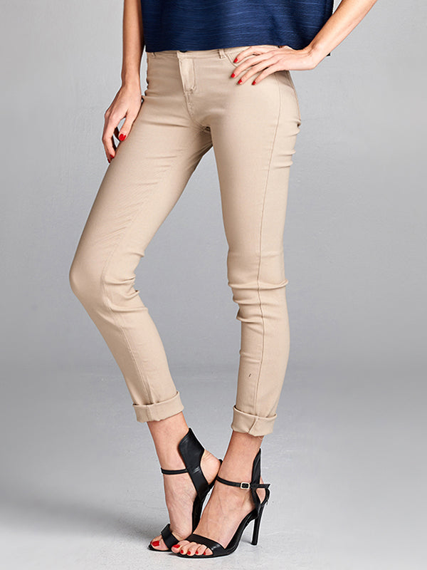 Basic Stretchy Skinny Pants Beige 311