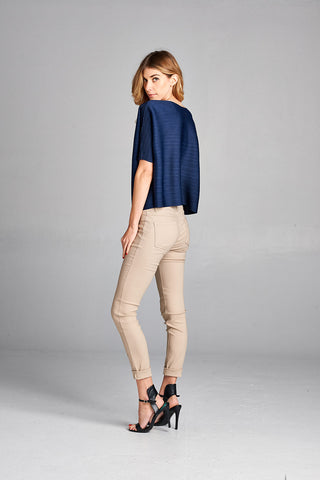 Pleated Leonie  blouse blue 81309-1
