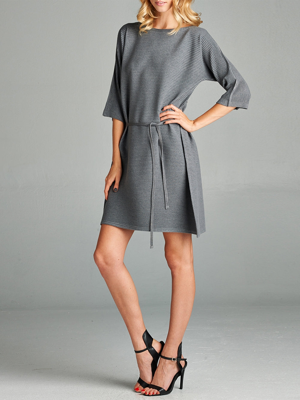 Pleated Grey Olivia  Dress HT-9566