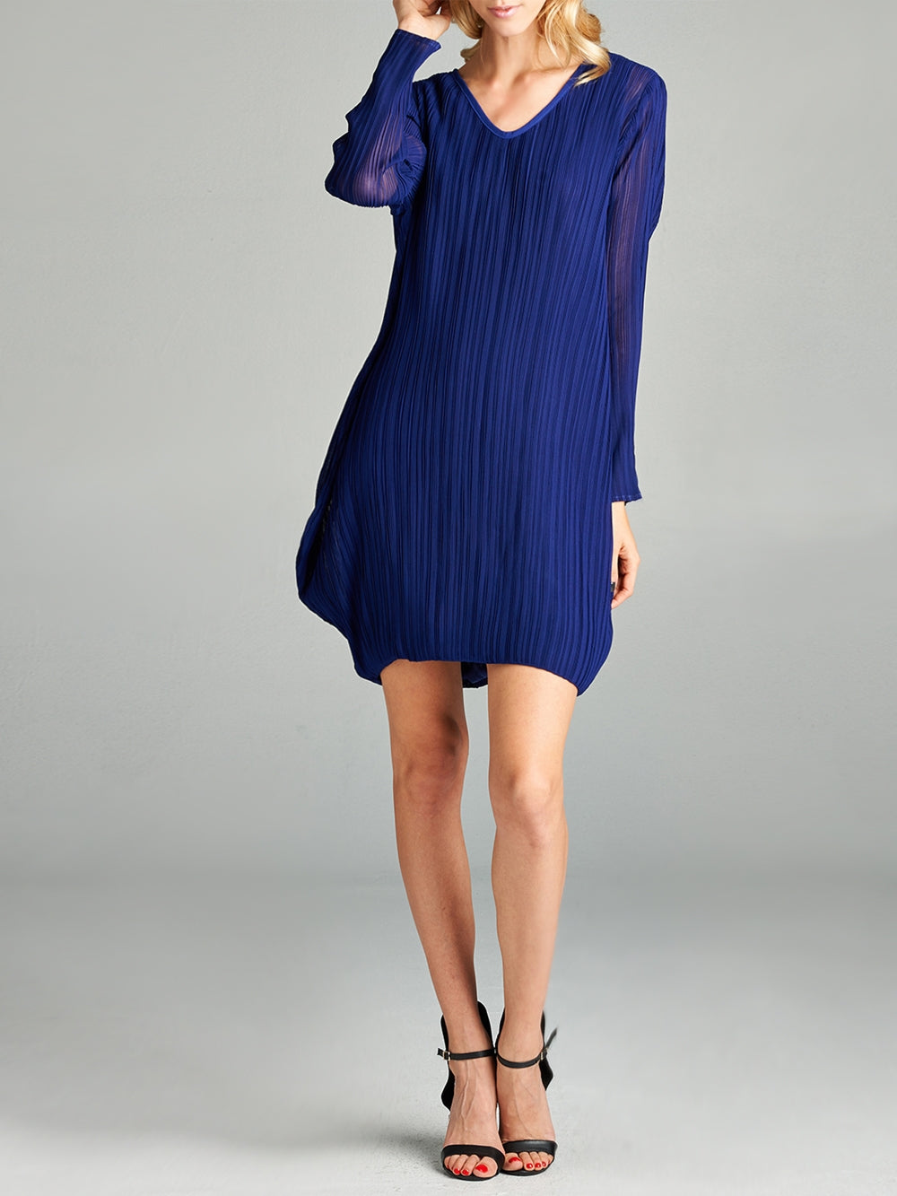 Pleated Blue Raya  Dress  NC9020