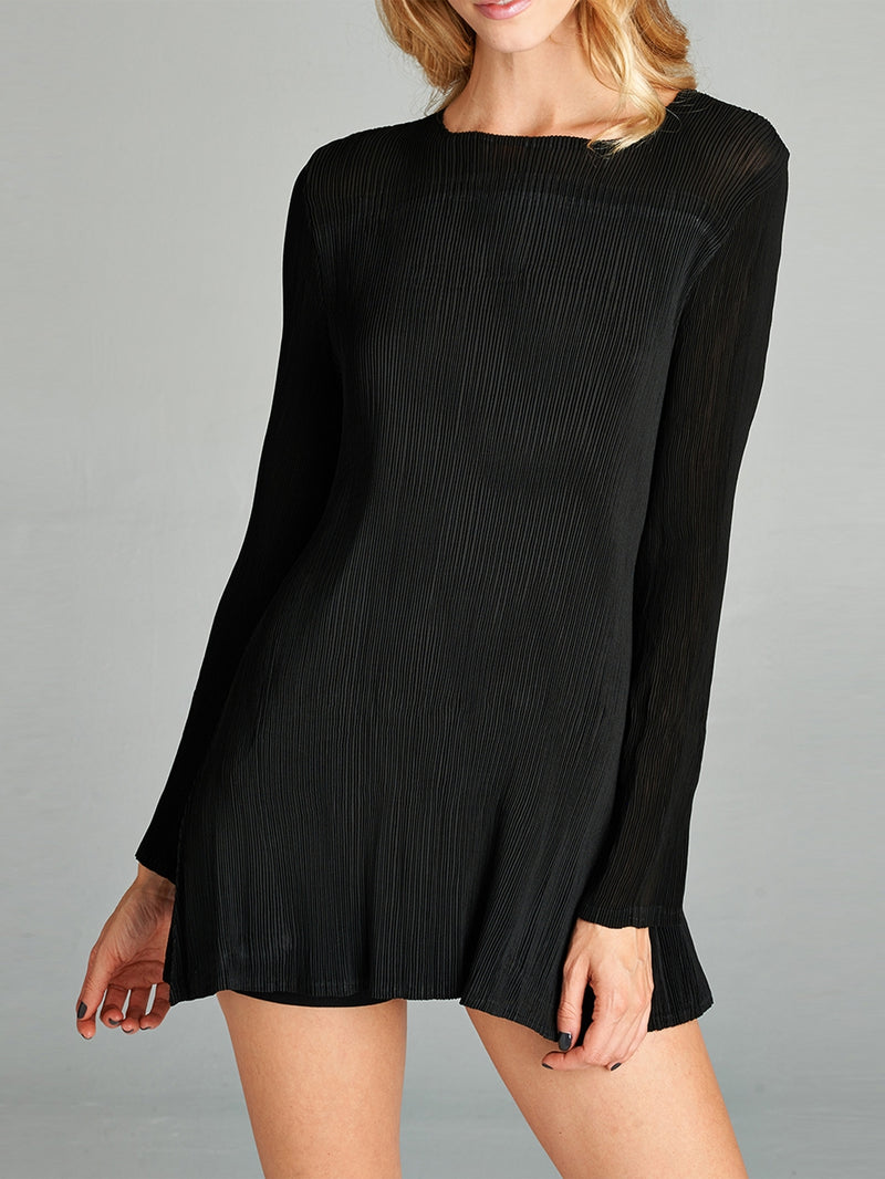 Pleated Black Mia  Top  6049