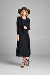 Pleated Black Nabi Wing Collar Cardigan Style Dress 95500