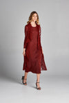 Pleated Burgundy Nabi Wing Collar Cardigan Style Dress 95500